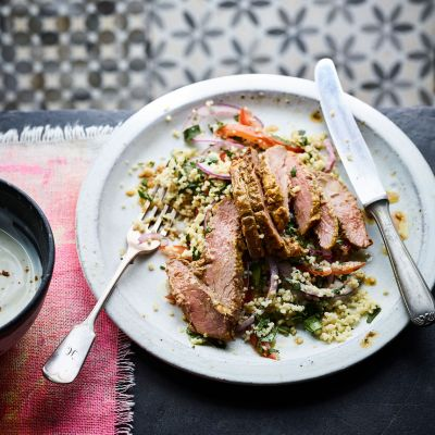 Spiced duck breast with couscous salad