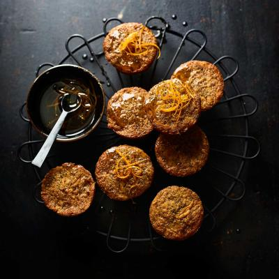 Mini carrot and orange cakes with rum drizzle