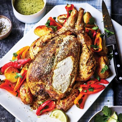 Green curry roast chicken