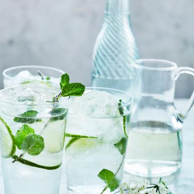 Elderflower wine spritzer with lime and mint