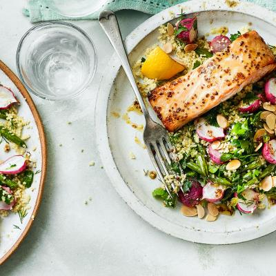 Mustard honey salmon with veggie couscous