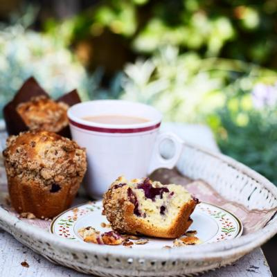 Cherry and lemon muffins with muesli crumble