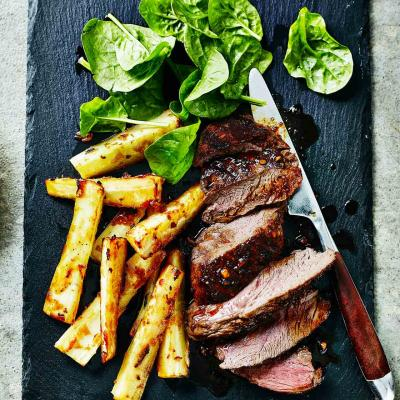 Venison steaks with miso parsnip fries