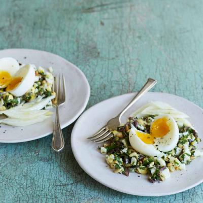 Egg salad with anchovies and pine nuts