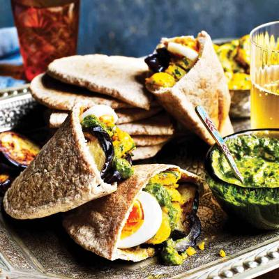 Aubergine, spiced potato and zhoug pitta