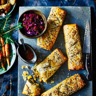 Spiced parsnip and cashew strudels