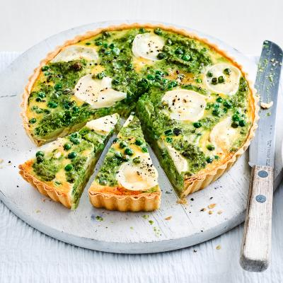 Goats' cheese and pea pesto tart