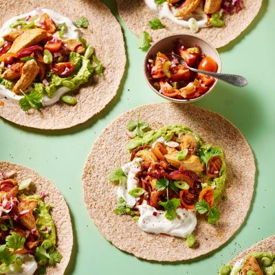 Chicken fajitas with jalapeno salsa and avocado