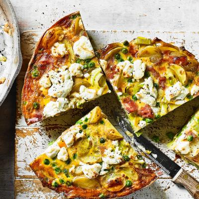 Pea, ham and goats' cheese tortilla