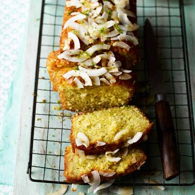 Lime and coconut drizzle cake