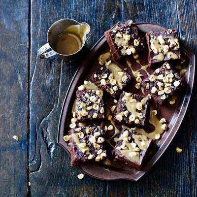 Milk chocolate and hazelnut squares with honey drizzle