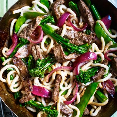 Beef and udon stir-fry