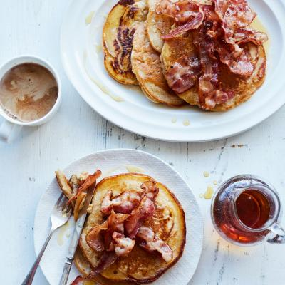 Buttermilk cinnamon pancakes with crispy bacon
