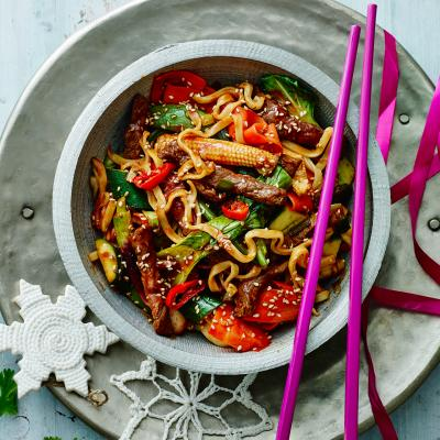 Korean barbecue beef stir-fry with noodles