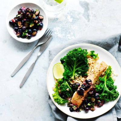 Grilled salmon with blueberry-lime salsa