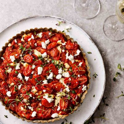 Tomato and feta tart with poppy seed pastry