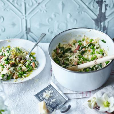 Spring vegetable and pancetta risotto