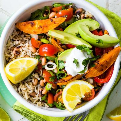 Mexican sweet potato rice bowls