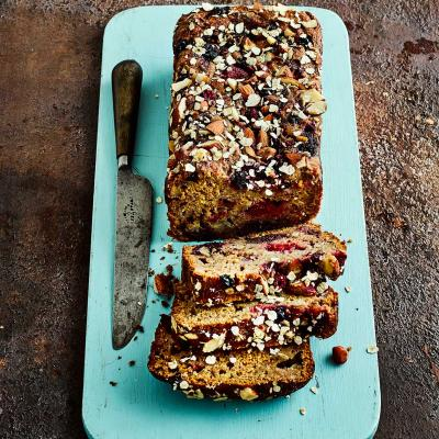 Honeyed fruit and almond banana loaf