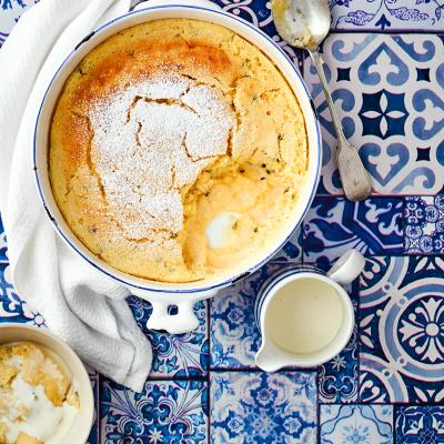 Lemon & passionfruit self-saucing pudding