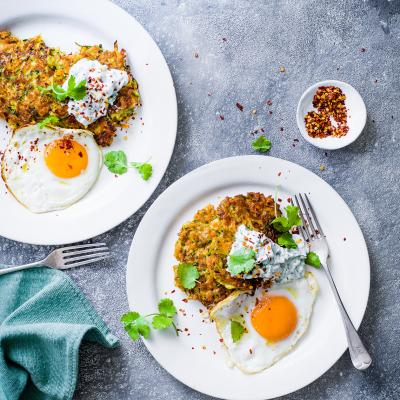 Curried halloumi fritters, raita and fried egg