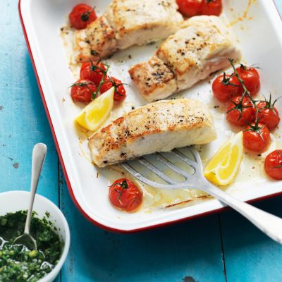 Hake with tomatoes and cucumber salsa verde