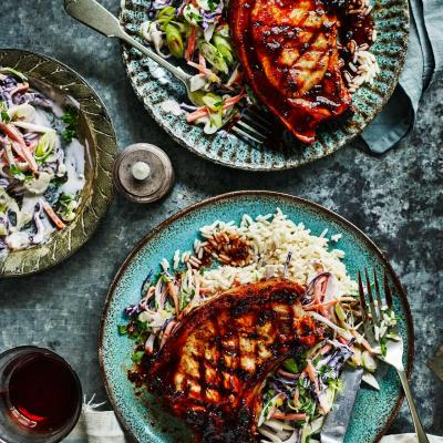 Coffee and chipotle pork chops with slaw