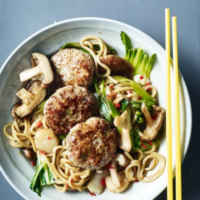 Chinese pork patties with noodles