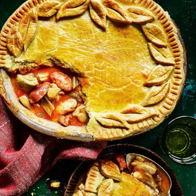 Chicken and chorizo pie with saffron pastry