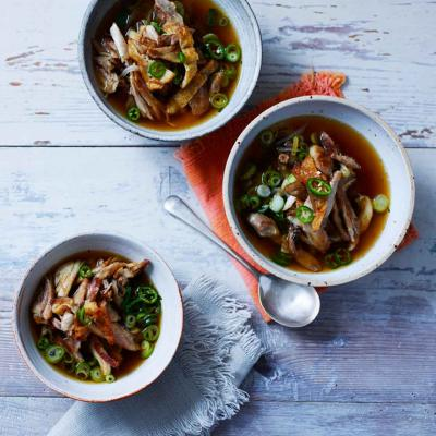 Pulled chicken and shiitake mushroom broth