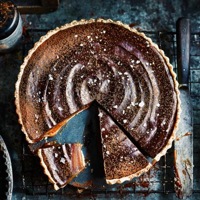 Miso butterscotch chocolate tart