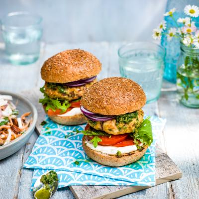 Herby chicken burgers with salsa verde