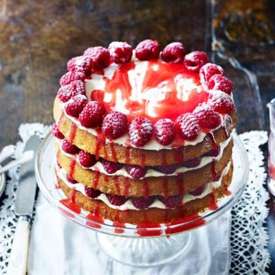 Triple-layer raspberry  lemonade drizzle cake