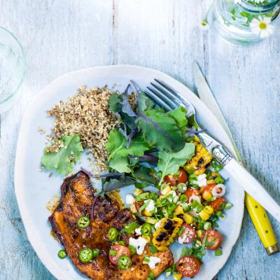 Spicy turkey steaks with corn salsa