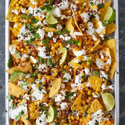 Mexican grilled corn nachos