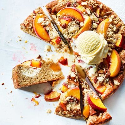 Peaches and cream crumble cake