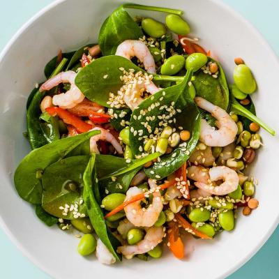 Prawn, edamame and pepper salad with wasabi dressing