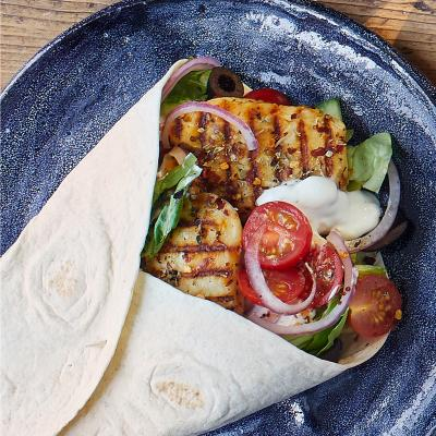 Greek halloumi wraps