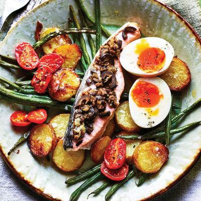 Roasted salmon Niçoise with soft-boiled eggs