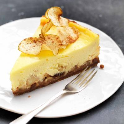 Baked Bramley apple cheesecake