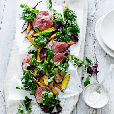Beef and watercress salad and horseradish dressing
