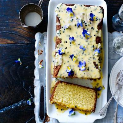 White chocolate loaf cake with passion fruit drizzle