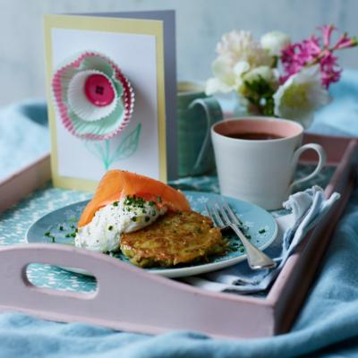 Breakfast potato fritters with smoked salmon