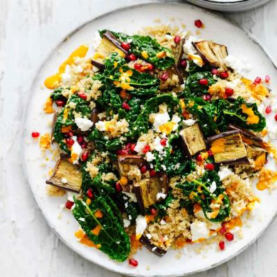 Feta, aubergine, pomegranate and harissa salad