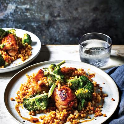 Sweet orange chicken with broccoli