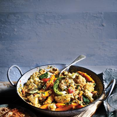 Coconut dhal with roasted veg