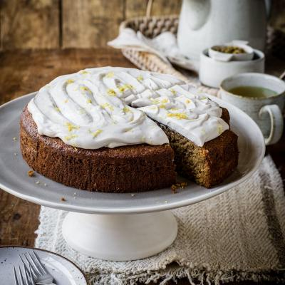 Camomile, lemon and polenta cake
