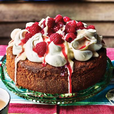 Raspberry and custard poke cake