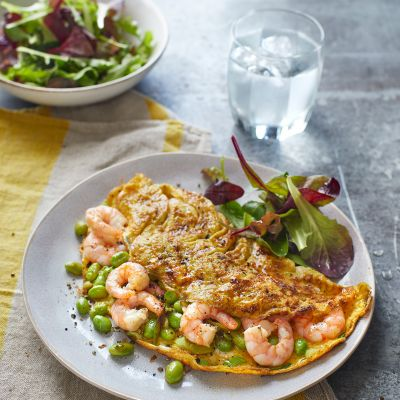 Prawn, edamame and spring onion omelette