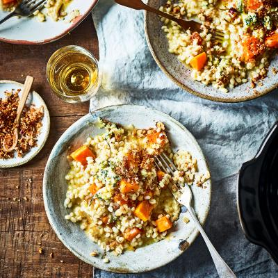 Slow-cooked pearl barley risotto with blue cheese and squash